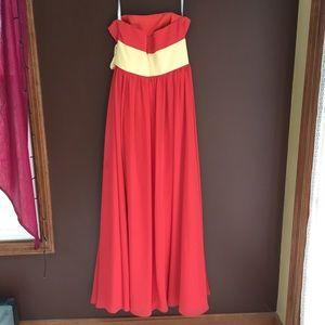 Dresses - Dark Orange Strapless Gown, Yellow Belt